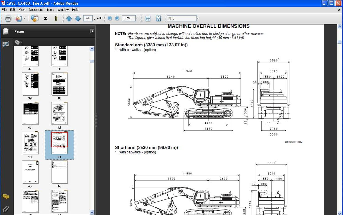 Case Crawler Excavator Cx460 Tier3 Service  U0026 Repair Manual