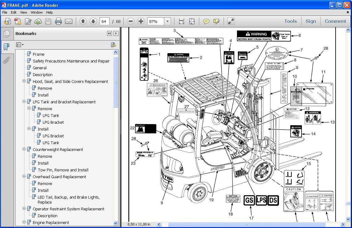 Hyster Maintenance Manual H80 on